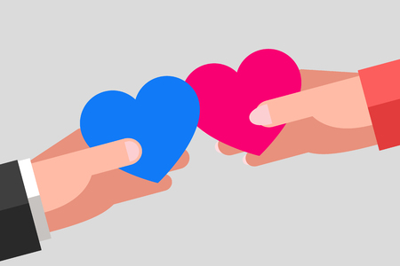heterosexual couple: Mans and womans hands are keeping blue and pink hearts and tending to one another. Intersection of two hearts. Heterosexual couple in love Illustration