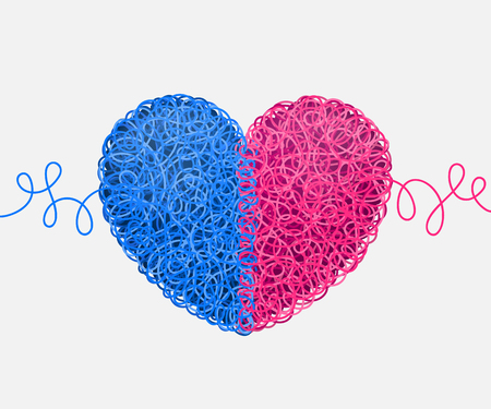 weaved: Heart weaved from variety of twisted blue and pink threads. Heterosexual couple concept Illustration