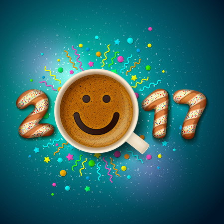 Cup of coffee with smiling face on frothy surface and cookies in shape of digits are forming together a number 2017 on festive dark background. Good mood and happiness for Christmas and New Year