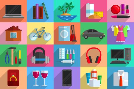 Varios objetos como posibles compras. El poder adquisitivo, el consumismo, la venta y la compra