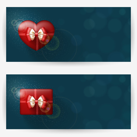 Festive backgrounds with red gift boxes, with place for congratulations. Horizontal banners