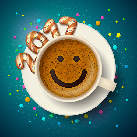 frothy: Coffee cup with smiling face on frothy surface. Cookies in form of digits are forming together a number 2017 on saucer, on blue background. Good mood and vivacity for New Year 2017