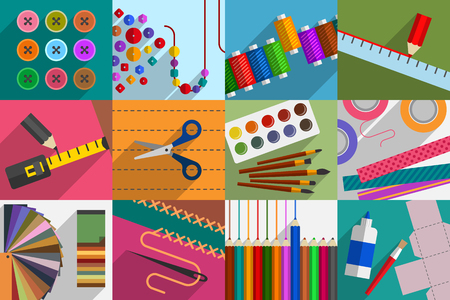 Variety of subjects and tools for do-it-yourself. DIY concept