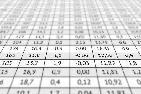 deed: Large table with a lot of numerical data. Business information, analysis of data and different indicators Stock Photo
