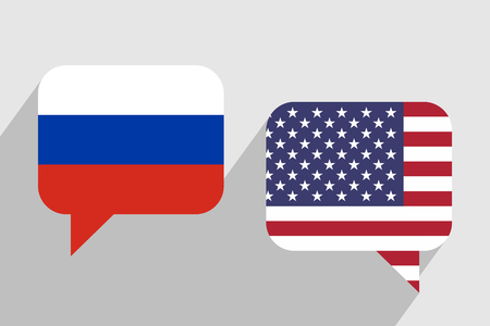 Two message clouds with flags of Russia and USA respectively. Illusztráció
