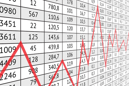 Table with a lot of numerical data and red graph line. Business information and statistics. Illustration