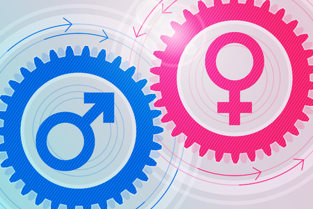compatibility: Blue gear with male symbol inside and pink gear with female symbol inside near to each other. Illustration