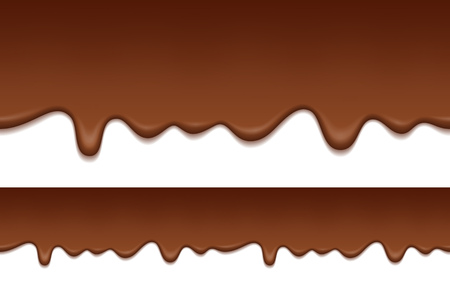 Seamless pattern of melted chocolate. Chocolate is flowing down. Food background.