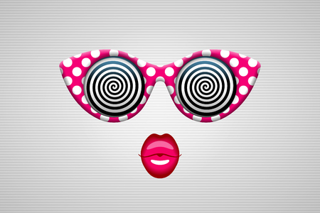 hypnotizing: Glamorous sunglasses in retro style with hypnotic spiral patterns instead of glasses. Illustration