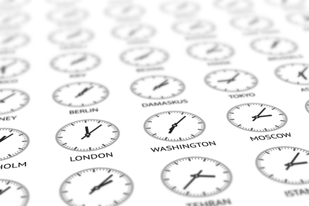 geopolitics: Round clocks are showing different time for different cities around the world. Different time and uniform geopolitical issues concept