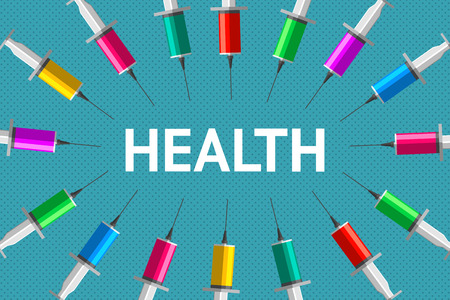 Word health, and a lot of syringes with colored fluids inside are around. Health and medicaments. Healthy lifestyle and medicine