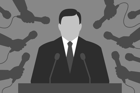 spokesman: Person is behind tribune. Hands with microphones are around. Speaker and reporters. Interview for the media Illustration