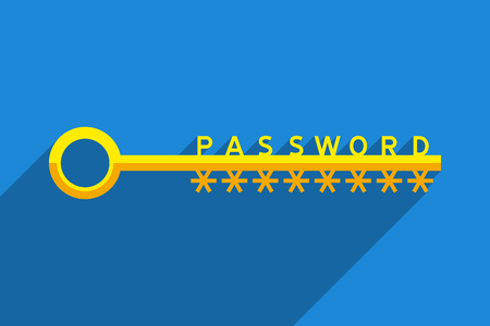 Big key as symbol of password for accessing to password-protected data. Information technology and personal information security