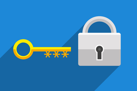 Lock as symbol password-protected access and key as symbol of password for accessing data. Information technology and personal information security