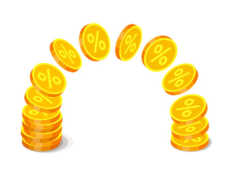 Gold coins with percent signs are flying from one stack to another. Finance operations and income concept