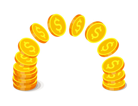 Gold coins with dollar signs are flying from one stack to another. Finance operations and income concept