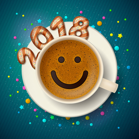 Coffee cup with smiling face on frothy surface. Cookies in form of digits are forming together a number 2018 on saucer, on decorated background. Good mood and vivacity in new year