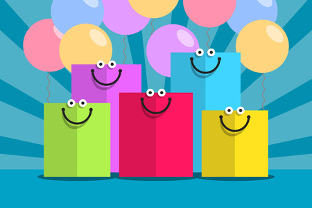 Colored shopping bags and smiles. Happy buying. Successful shopping concept Illustration