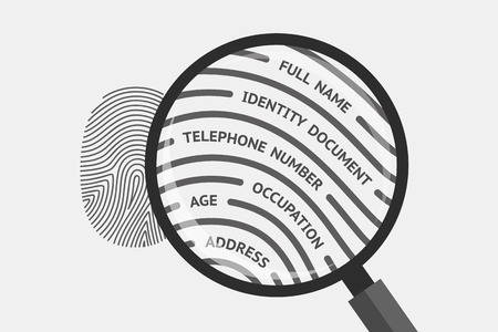 Fingerprint and magnifying glass with personal information inside. Fingerprint as source of information about person