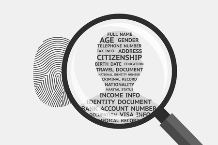 Fingerprint and magnifying glass above, mans silhouette with personal information inside. Fingerprint as source of information about person Çizim