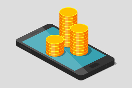 Gold coins is laying on phone. Payment for communication services