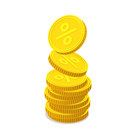 Stack of gold coins with percent signs, on white background. Coins is falling from the top so stack is increasing. Income concept Illustration