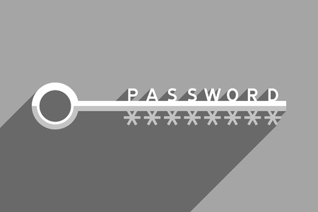 Big key as symbol of password for accessing to password-protected data. Information technology and personal information security. Black and white illustration Stock Photo
