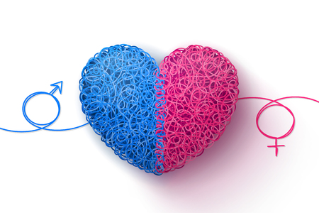 Male and female symbols, and heart woven from blue and pink threads. Heterosexual love
