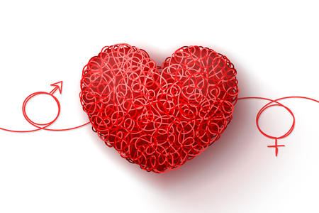 Male and female symbols, and heart woven from red threads. Heterosexual love Stock Photo