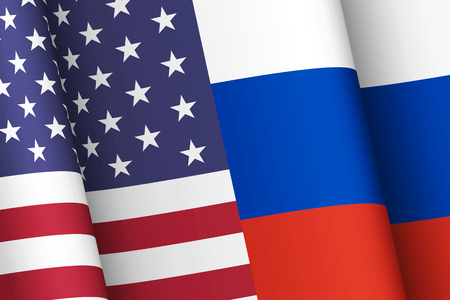 Flags of the United States of America and the Russian Federation. Political interaction of countries. Geopolitics concept