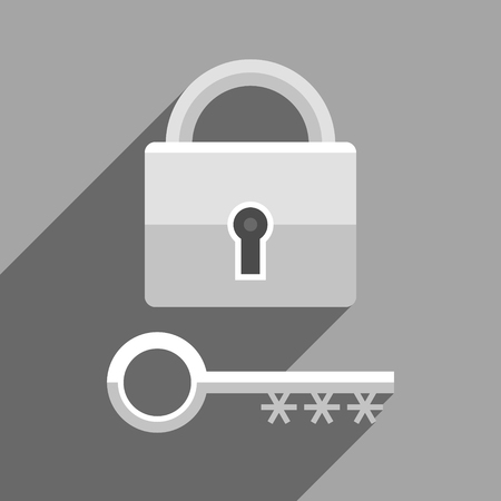 Lock as symbol of password-protected access and key as symbol of password for accessing data. Information technology and personal information security. Black and white illustration