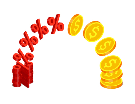 Red percent signs are flying and transforming in gold coins with dollar signs from one stack to another. Finance operations and income concept