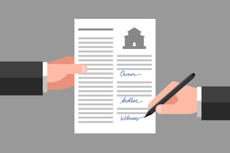 Property release in one hand, another hand is signing this document as witness Illustration