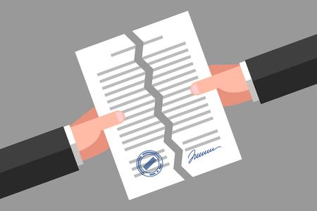 Due mani stanno strappando una carta firmata. Annullamento di contratto, documento o accordo. Concetto di business Vettoriali