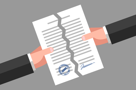 Two hands are tearing up a signed paper. Cancellation of contract, document or agreement. Business concept Иллюстрация