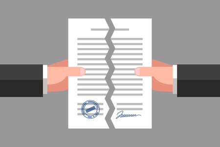 Two hands are tearing up a signed paper. Cancellation of contract, document or agreement. Business concept Vectores