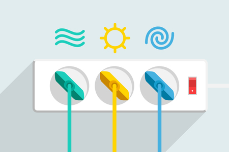 Three colored power cords plugged to a power strip vector illustration Illustration