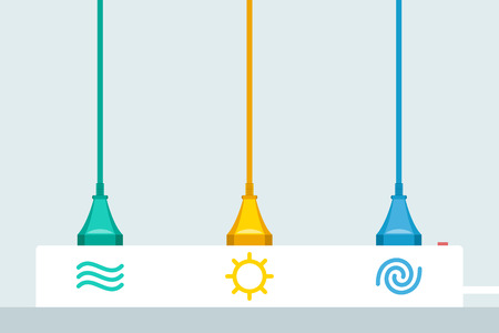 Three colored power cords plugged to power strip with icons of water, sun and wind. Renewable energy concept