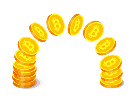 Gold coins with bitcoin symbols are flying from one stack to another. Finance operations, cryptocurrency and income concept Illustration