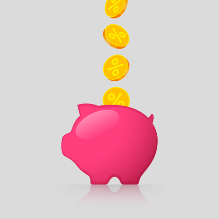 Pink piggy bank and gold coins with percent signs. Income from interest. Saving money concept