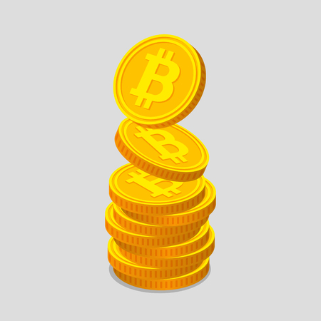 Stack of gold coins with bitcoin symbols, on light background. Coins is falling from the top so stack is increasing. Income concept