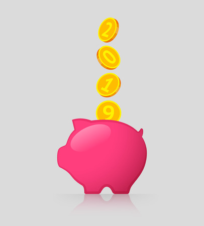 Pink piggy bank and gold coins with 2019 numbers. Income and saving money in new year Иллюстрация