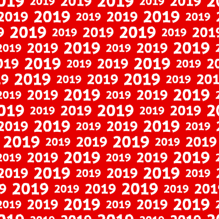 New Year 2019 seamless pattern. White numbers on red background