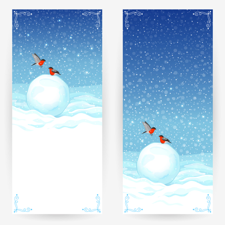 Festive greeting cards with bullfinches, snowballs at snowy background. Vertical banners