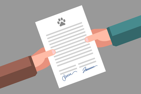 Document in hands. Signing of pet adoption or sale agreement Иллюстрация
