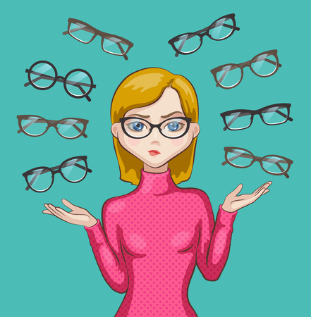 Thoughtful girl are choosing eyeglasses, glasses of different forms are around