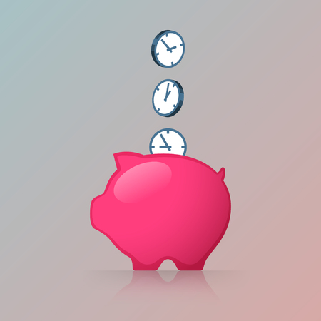Pink piggy bank and clocks. Saving of time Иллюстрация