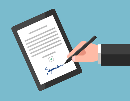 Signing of digital contract using signature, on tablet. Electronic agreement in modern business Иллюстрация