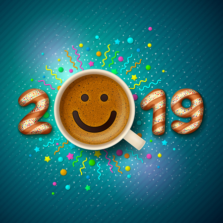 Coffee cup with smiling face on frothy surface. Digit-shaped cookies, and cup are forming together a number 2019, on festive background. Good mood and vivacity in New Year