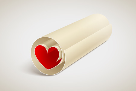 Paper scroll with red heart inside. Love message. Relationships concept Иллюстрация